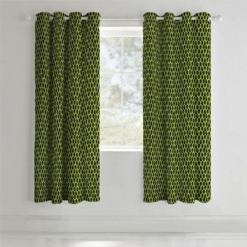 Catherine Lansfield Neon Football Yellow Eyelet Curtains